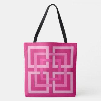 Bolsa Tote Quadrados, fúcsia e luz geométricos modernos -