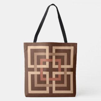 Bolsa Tote Quadrados geométricos, castanho chocolate modernos
