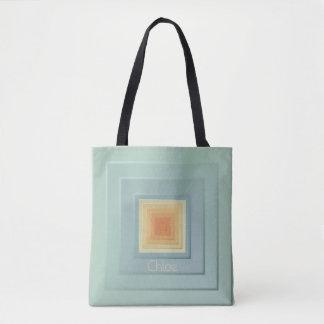 Bolsa Tote Quadrados geométricos elegantes (luz - azul &