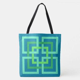 Bolsa Tote Quadrados geométricos modernos, Aqua, cerceta,