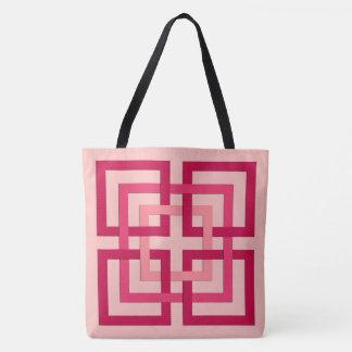 Bolsa Tote Quadrados geométricos modernos, cor-de-rosa coral