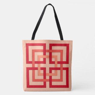 Bolsa Tote Quadrados geométricos modernos, laranja coral &