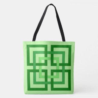 Bolsa Tote Quadrados, verde da hortelã e esmeralda