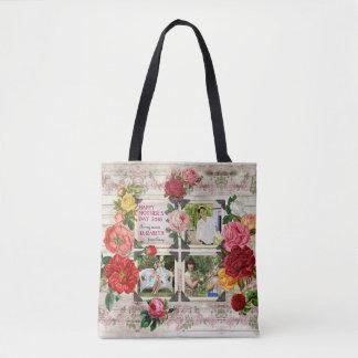 Bolsa Tote Quadro da foto do vintage de Instagram dos rosas