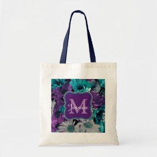 Bolsa Tote Quebra roxa e azul da flor