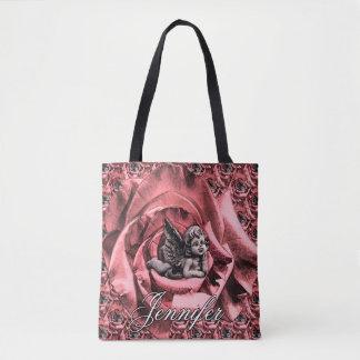 Bolsa Tote Querubim personalizado do anjo com rosas