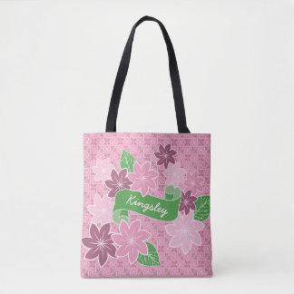 Bolsa Tote Quimono cor-de-rosa de Japão da bandeira do verde