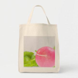Bolsa Tote Rabanete cor-de-rosa com folhas