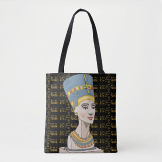 Bolsa Tote Rainha Nefertiti com Cartouche