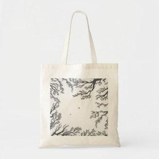 Bolsa Tote ramos de árvore secados com pássaros e folhas
