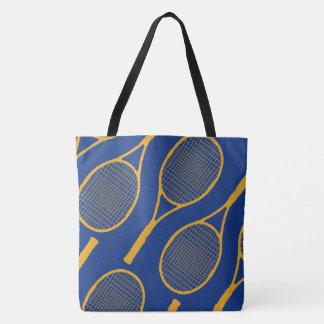 Bolsa Tote raquetes de tênis amarelas no na moda azul