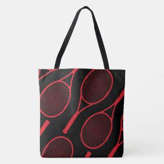 Bolsa Tote raquetes de tênis vermelhas no preto