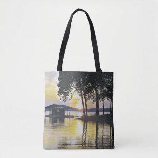 Bolsa Tote Reflexões pretas amarelas bonitas da água do por