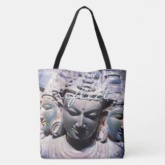 """Bolsa Tote """"Reflita"""" a foto asiática da estátua das caras da"""
