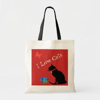 Bolsa Tote Refrigere os gatos do amor de I vermelhos e o