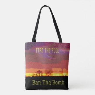 Bolsa Tote Resistência política do #Banthebomb vermelho de
