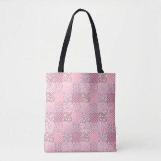 Bolsa Tote Retalhos florais cor-de-rosa toda sobre - imprima