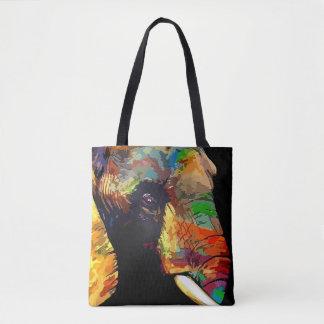 Bolsa Tote Retrato colorido corajoso da cabeça do elefante