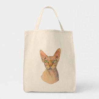 Bolsa Tote Retrato da aguarela do gato de Sphynx