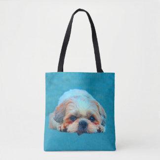 Bolsa Tote Retrato da arte da cor de água do cão de Shih Tzu