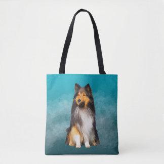 Bolsa Tote Retrato da arte do Sheepdog de Sheltie Shetland