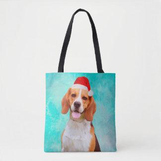 Bolsa Tote Retrato do chapéu do papai noel do Natal do cão do