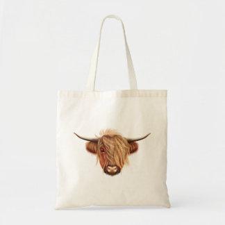 Bolsa Tote Retrato ilustrado do gado das montanhas