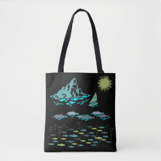 Bolsa Tote Retro verde de Sun do Windsurfer dos peixes dos
