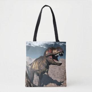 Bolsa Tote Rex do tiranossauro que ruje em uma garganta