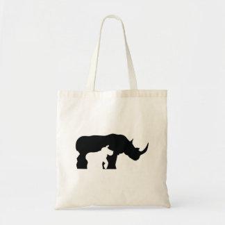 Bolsa Tote Rinoceronte preto e branco