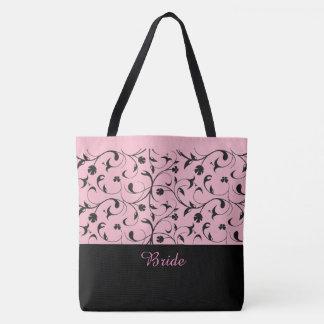 Bolsa Tote Rolos cor-de-rosa & pretos da sacola da noiva