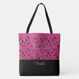 Bolsa Tote Rolos do rosa quente & do preto da sacola da noiva