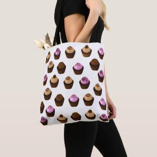 Bolsa Tote Rosa bonito dos cupcakes loucos e sacola de Brown