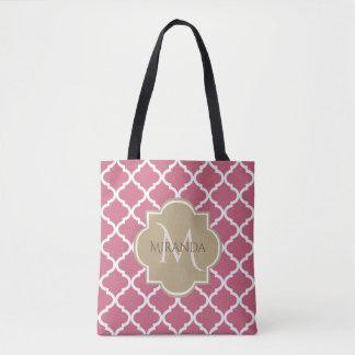 Bolsa Tote Rosa cor-de-rosa Tan Quatrefoil do monograma
