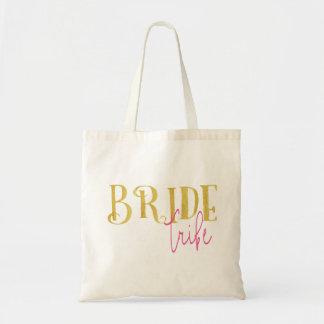 Bolsa Tote Rosa curvado e ouro do tribo da noiva