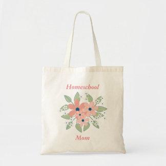 Bolsa Tote Rosa da mamã de Homeschool e floral verde