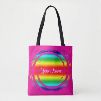 Bolsa Tote Rosa de roda do círculo do arco-íris