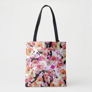 Bolsa Tote Rosa e primavera do coral floral em preto e branco