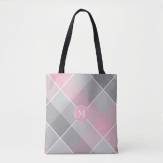 Bolsa Tote rosa e xadrez checkered cinzenta