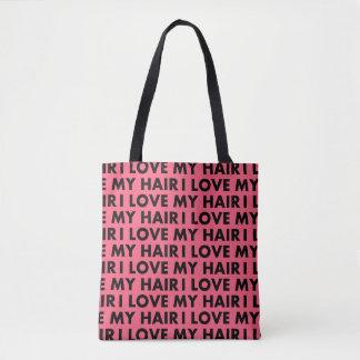 Bolsa Tote Rosa eu amo meu entalhe do texto do cabelo