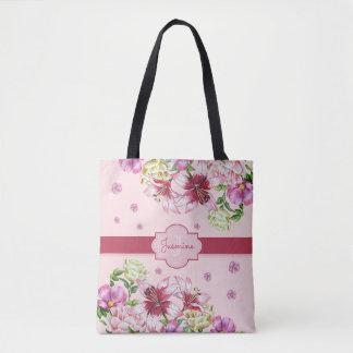 Bolsa Tote Rosa floral do lírio & da peônia