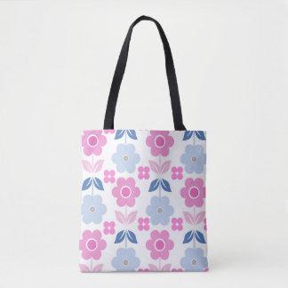 Bolsa Tote Rosa/flores retros azuis toda sobre - imprima a