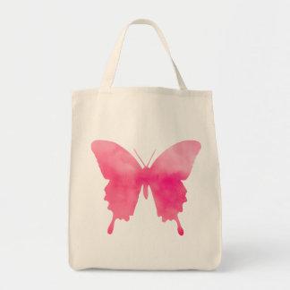 Bolsa Tote Rosa fúcsia e Pastel da borboleta da aguarela -