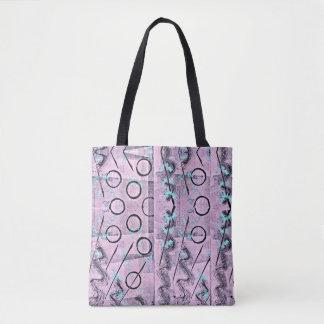 Bolsa Tote Rosa, turquesa e preto Monoprint abstrato