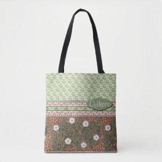 Bolsa Tote Rosa, verde com as flores brancas com texto feito