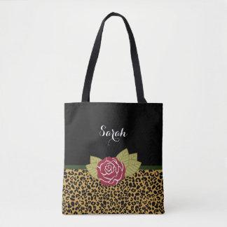 Bolsa Tote Rosa vermelha chique do impressão do leopardo do