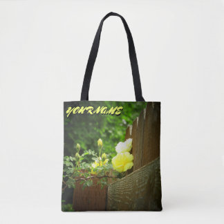 Bolsa Tote Rosas amarelos e cerca brilhante e seu nome