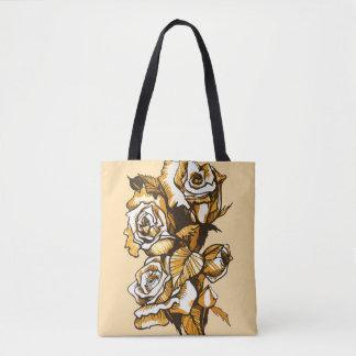 Bolsa Tote Rosas, arte floral gráfica, flores cor-de-rosa de