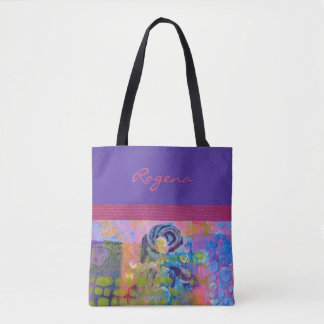 Bolsa Tote Rosas azuis - roxos & cor-de-rosa - bolsa/bolsa