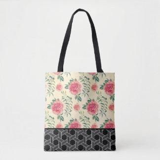 Bolsa Tote Rosas cor-de-rosa & teste padrão geométrico preto